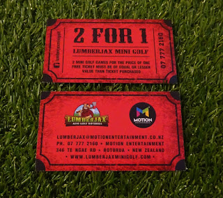 A flyer / coupon from Lumberjax Mini Golf