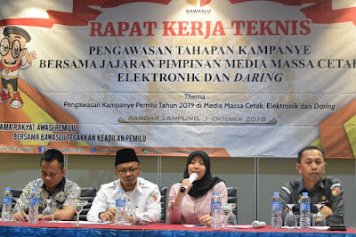 Bawaslu Lampung Gelar Rapat Teknis Pengawasan Tahapan Kampanye Pemilu 2019 di Media Massa
