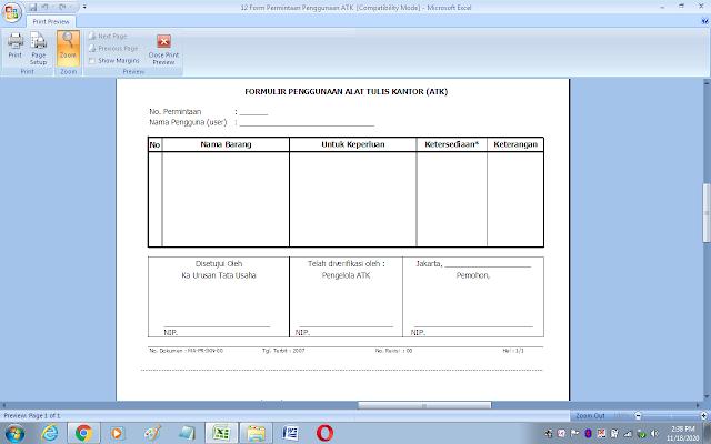 Contoh formulir penggunaan alat tulis kantor (ATK)
