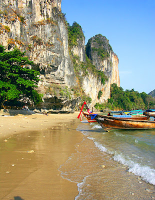 Railay Beach and longtail boats