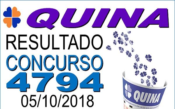 Resultado da Quina concurso 4794 de 05/10/2018 (Imagem: Informe Notícias)