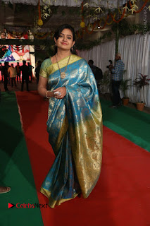 Actress Indraja Stills in Blue Silk Saree at Shatamanam Bhavathi Audio Launch  0040.JPG