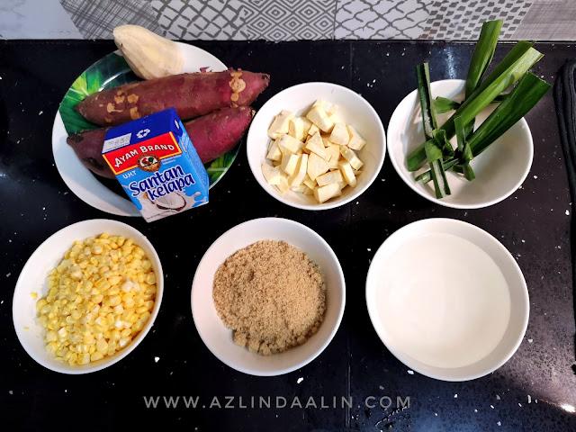 Resipi Mudah Masak Bubur Beni Nagomi Japanese Sweet Potatoes (ubi Jepun) dan Jagung