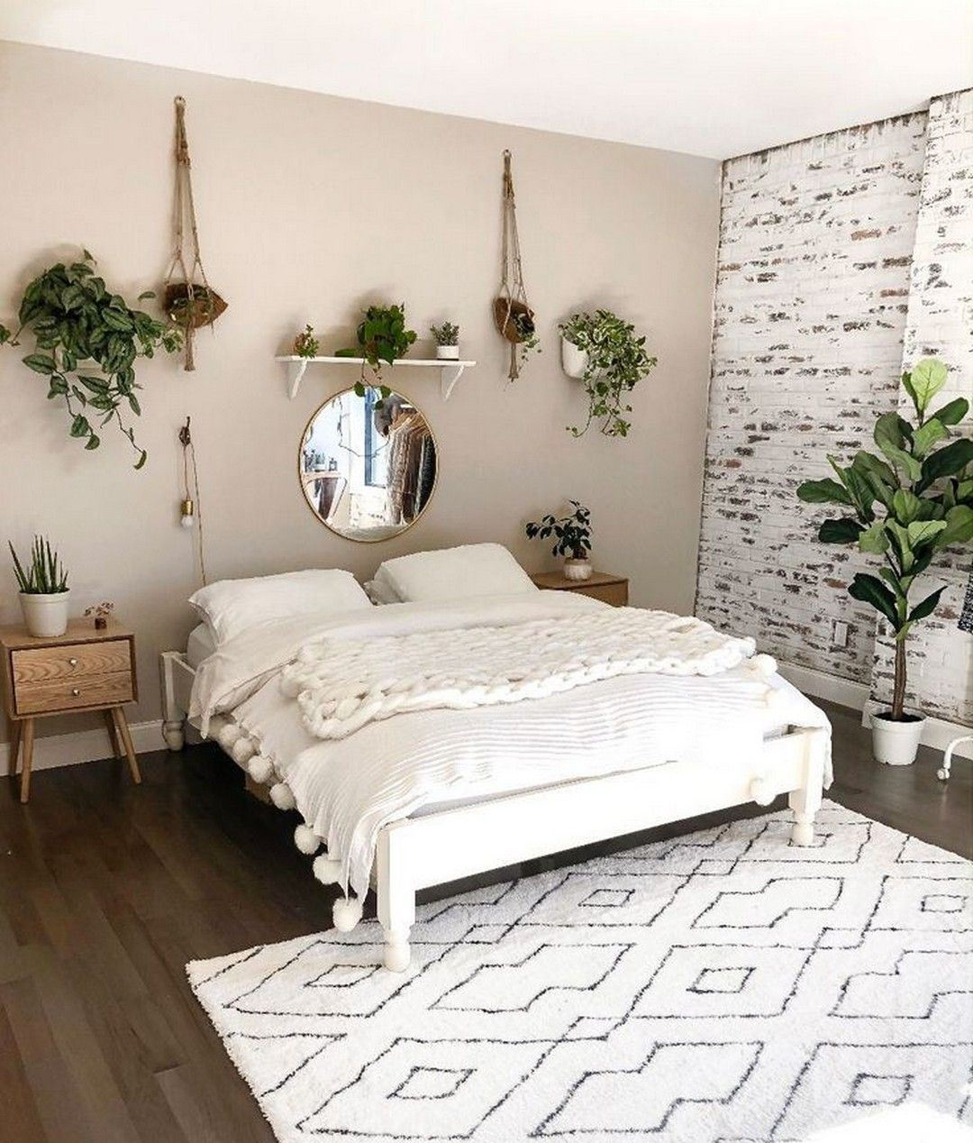 cozy bohemian bedroom idea for your first apartment