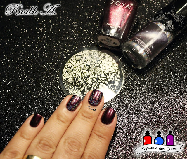 Zoya Jem, Zoya Mirrors Collection for Fall 2011, unhas carimbadas, EDK Andrômeda, Nail Art, Esmalte Holográfico, Roxo, burgundy, Raabh A. 2018,
