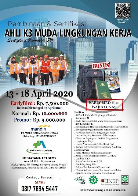 Ahli K3 Muda Lingkungan Kerja tgl. 13-18 April 2020 di Jakarta