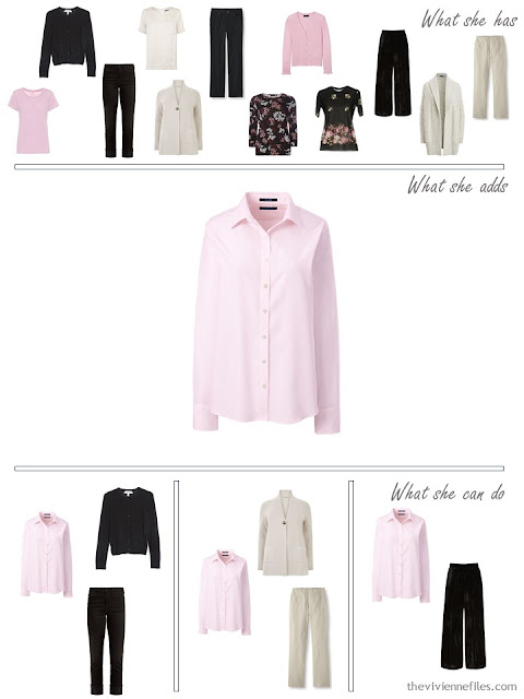 adding a pink shirt to a 4 by 4 Wardrobe