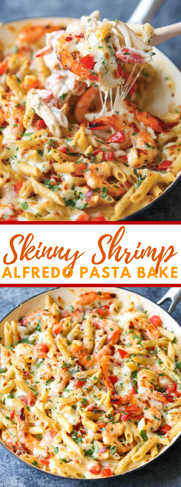 SKINNY SHRIMP ALFREDO PASTA BAKE #dinner #deliciousfood
