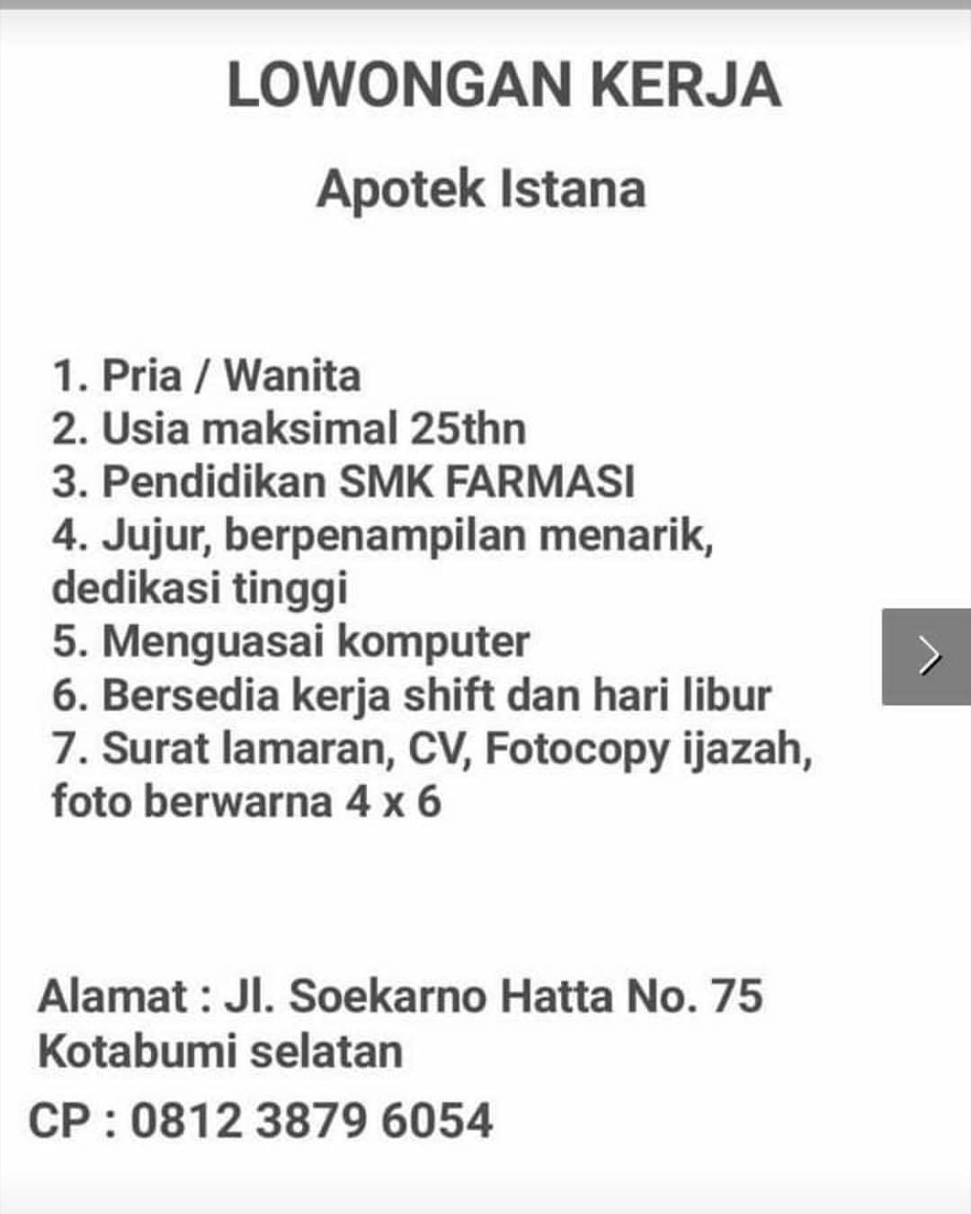 Lowongan Kerja Apotek Istana Kotabumi Selatan Karir Bandar Lampung