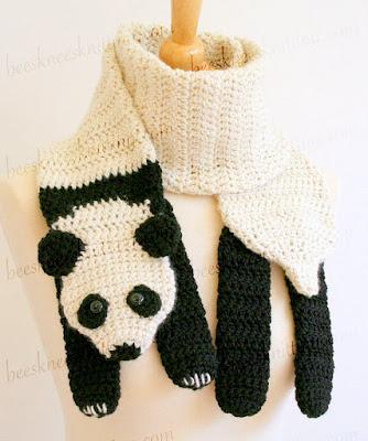 Crochet panda bear Scarf