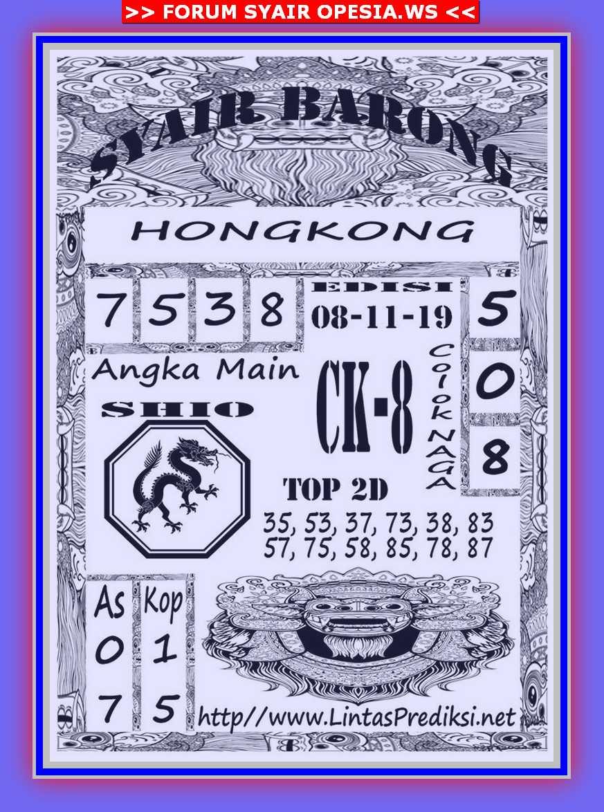 Kode syair Hongkong Jumat 8 November 2019 10