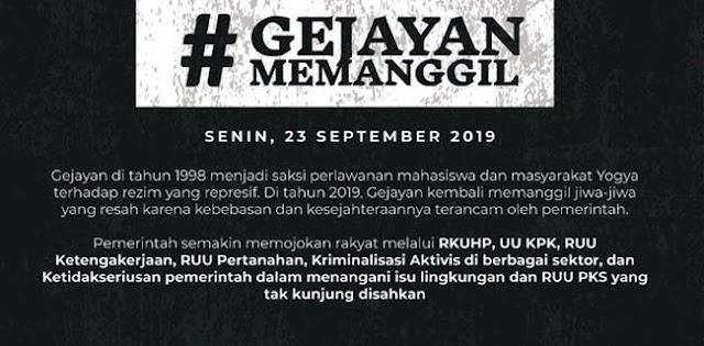 #GejayanMemanggil, Aksi Mengundang Rakyat yang Kesejahteraannya Terancam Pemerintah