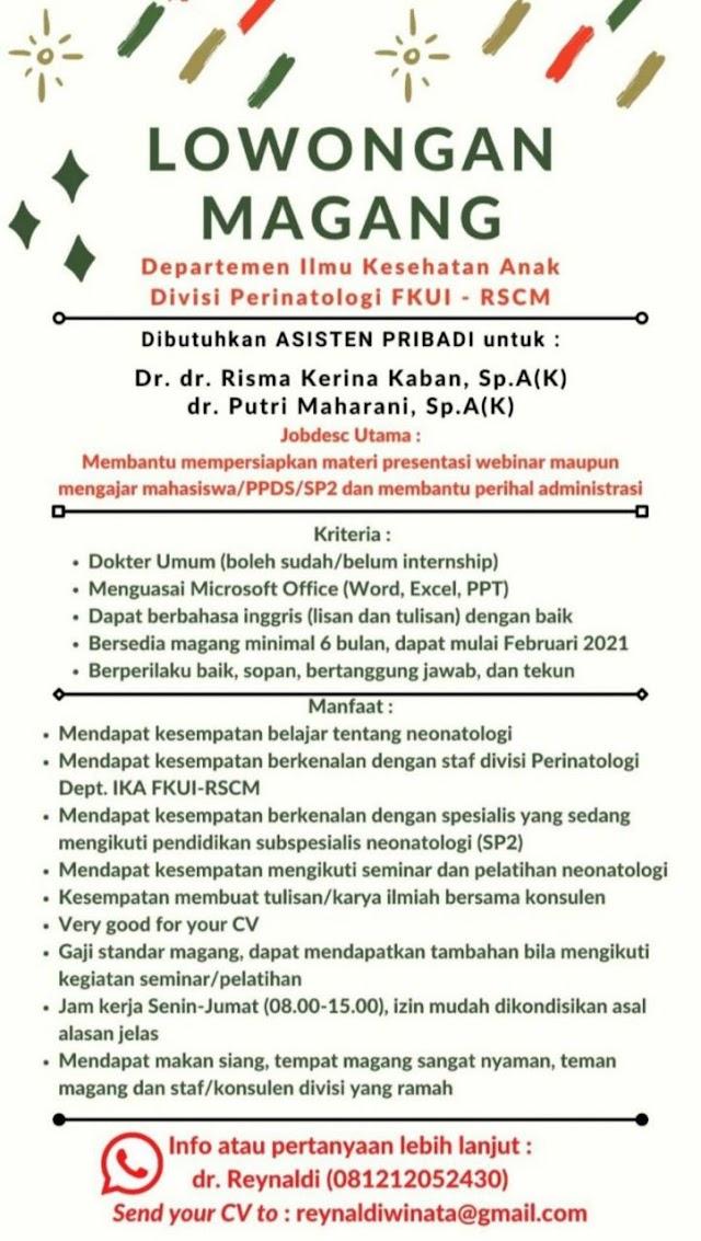 Lowongan Magang  Departemen IKA Divisi Perinatologi FKUI-RSCM