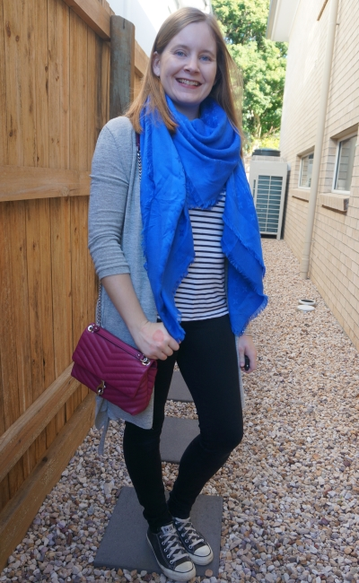 adding colour to a moncohrome stripe tank black skinny jeans outfit with blue Louis Vuitton shawl scarf and pink bag | awayfromblue