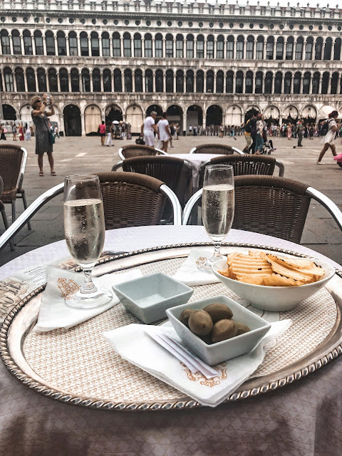 Expensive snacks in Rialto square, venice