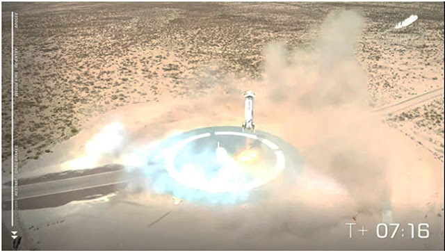 New Shepard 15 close to landing at T+7:16 minutes (Source: www.spaceflightnow.com)