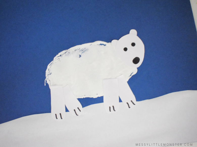 potato print polar bear craft