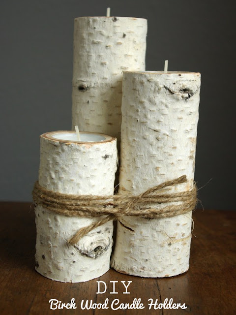 Unique DIY Home Decor Idea Birch Wood Candle Holders