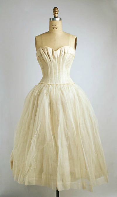 white full skirt Dior underdress displayed on dress form 1955-1956
