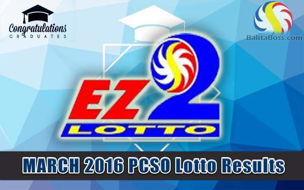 Image: March 2016 PCSO EZ2 Lotto