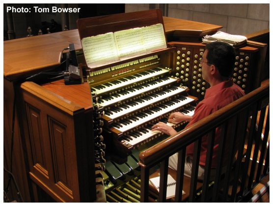 John W. W. Sherer - Organist and Director of Music for Fourth Presbyterian Church playing the Andrew Pipe Organ | horizontal image | Photo by Tom Bowser