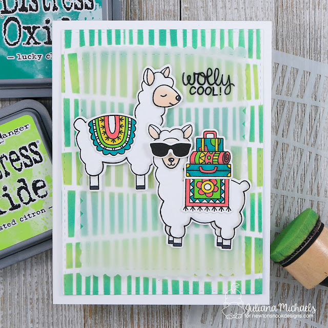 Wolly Cool Card by Juliana Michaels featuring Lovable Llamas Stamp Set and Serene Stripes Stencil by Newton Nook Designs