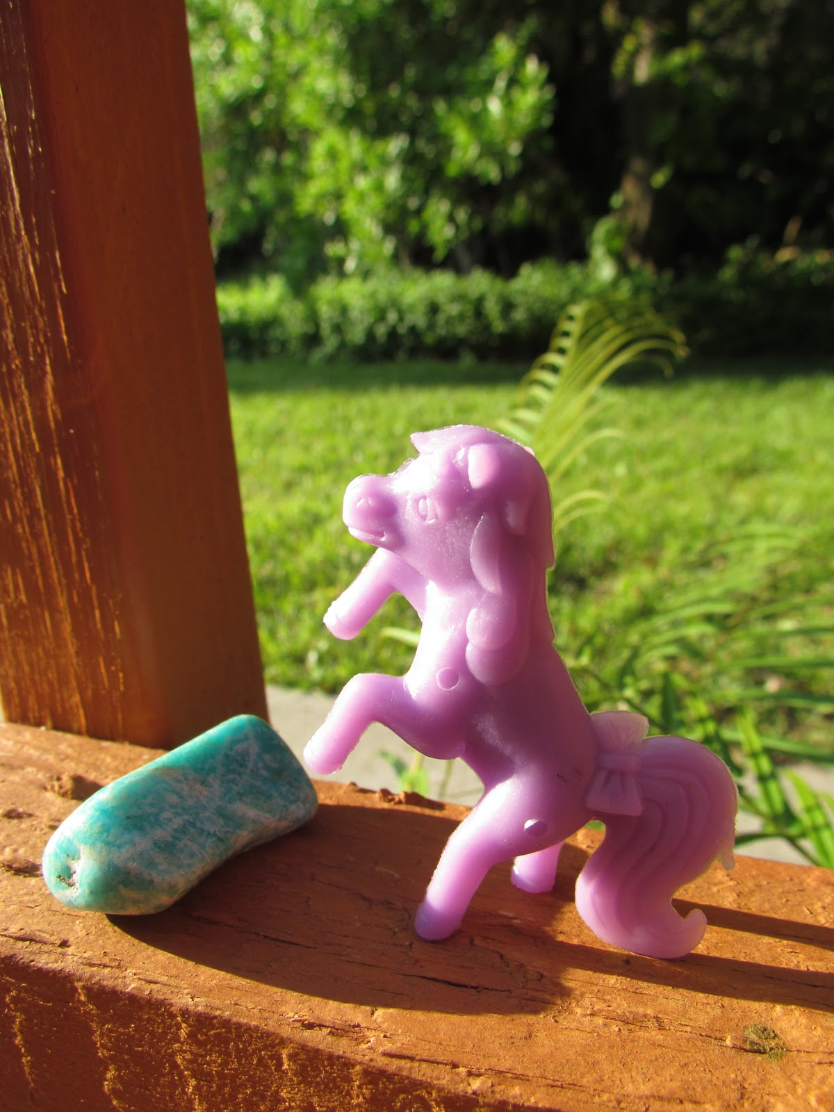 Purple Toy Unicorn Pegasus My Little Pony Figurine + Healing Stones in Nature