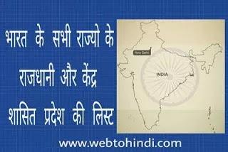 india ke sabhi rajyo ke rajdhani aur kendrashasit pradesh ki list