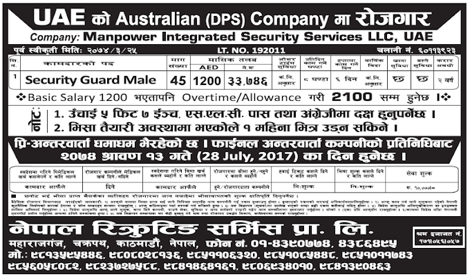 Jobs in UAE for Nepali, Salary Rs 33,746