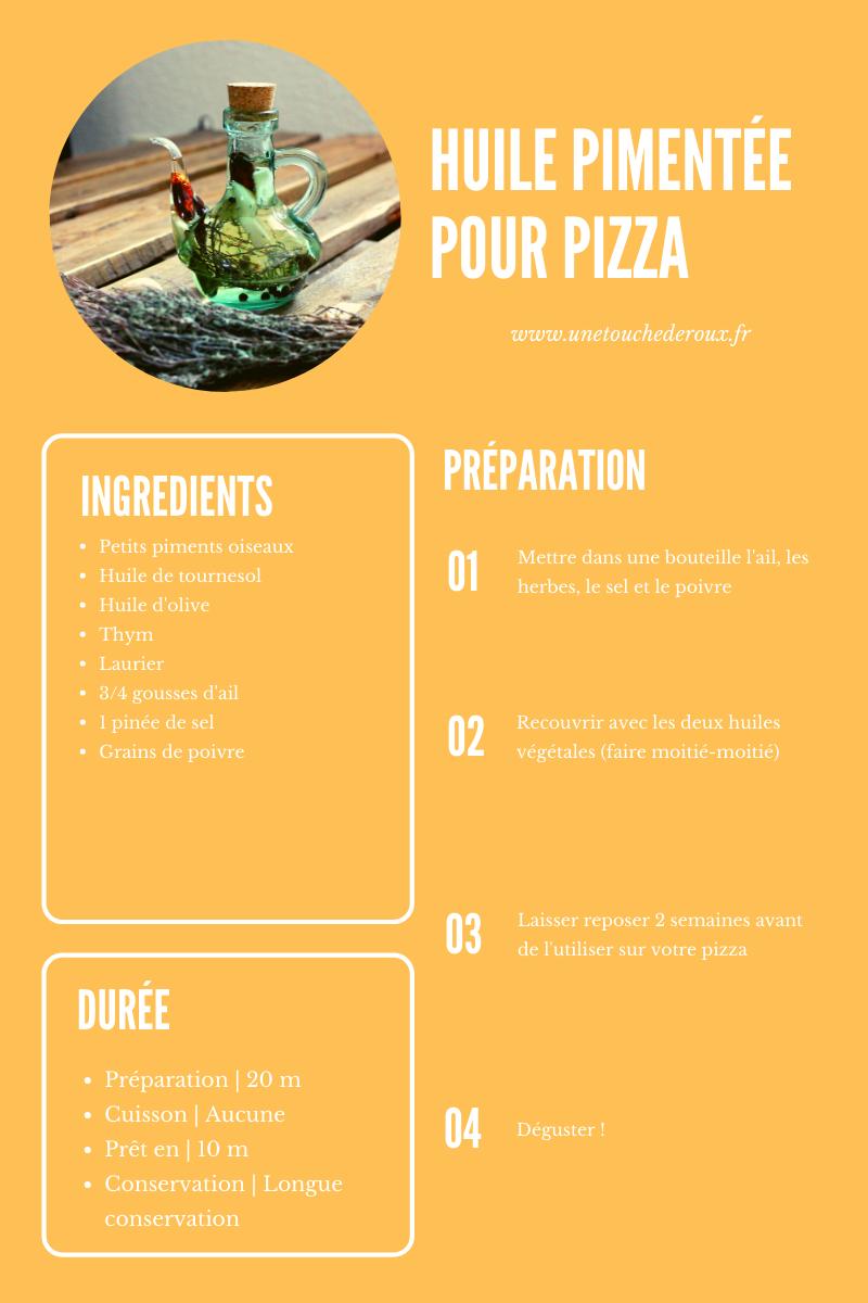 Fiche recette vegan de l'huile pimentée pour pizza