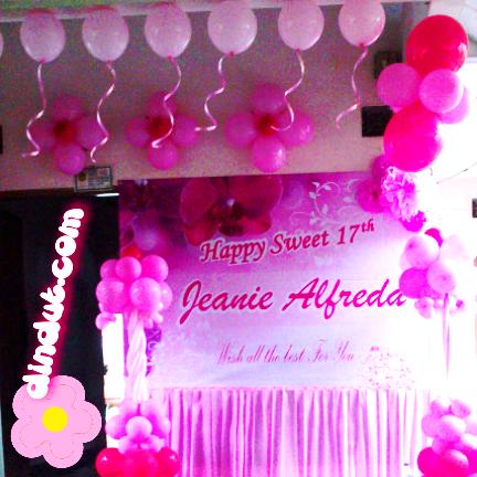 Sanggar Badut Sulap Sweet 17th dengan dekorasi sederhana