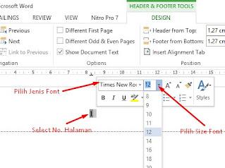cara membuat halaman di word - pilih font ukuran dan jenis