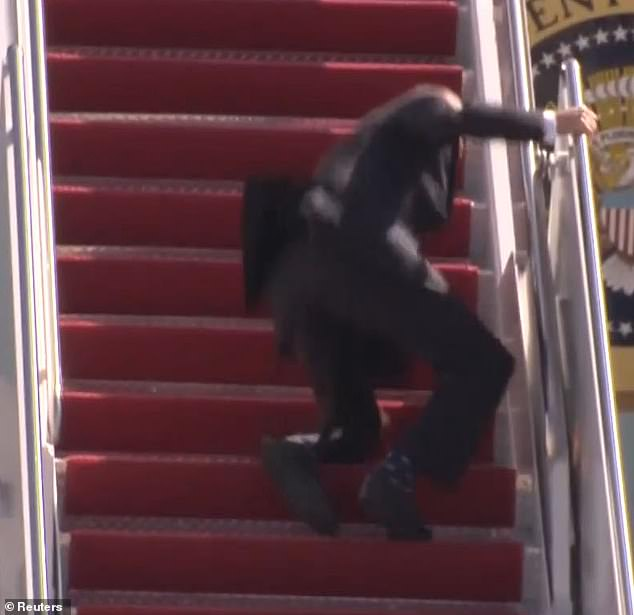Oh No! US President Joe Biden Falls While Climbing Air Force One Stairs (Video)