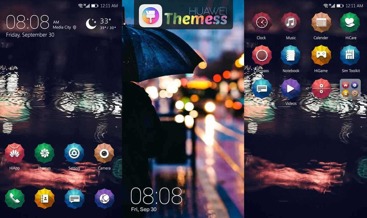 rainy night theme for emui 5 0 5 1 huawei themes