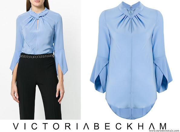 Crown Princess Mary wore Victoria Beckham flare sleeve knot blouse