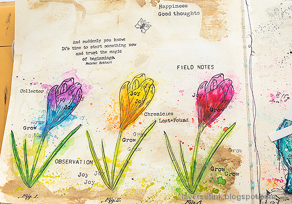 Layers of ink - Colorful Floral Crocus Tutorial by Anna-Karin Evaldsson. Stamp sentiments and words.