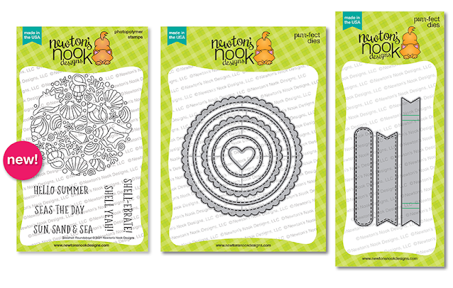 Seashell Roundabout Stamp Set & Circle Frames and Banner Trio Die Sets by Newton's Nook Designs #newtonsnook
