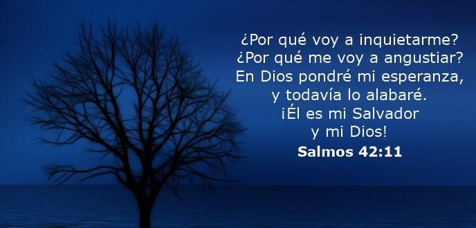 ¿Por qué voy a inquietarme? ¿Por qué me voy a angustiar? En Dios pondré mi esperanza, y todavía lo alabaré. ¡Él es mi Salvador y mi Dios!