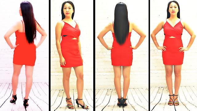 Asian Model in a Sexy, Beautiful Red/Orange, Spaghetti Strap Dress. Fashion Haul, Studio Edition (RMNOnline.net)