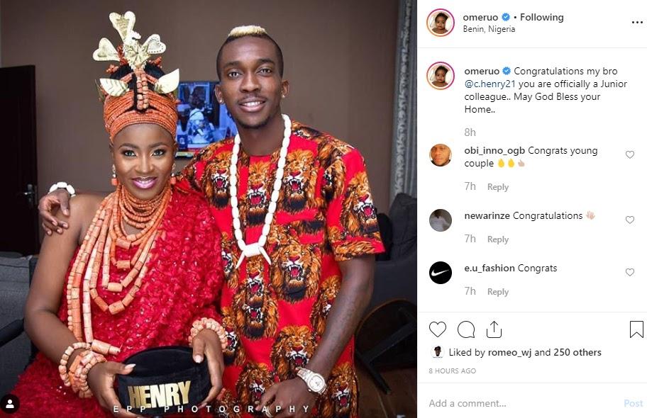 Super Eagles Player, Henry Onyekuru Release First Wedding Photo