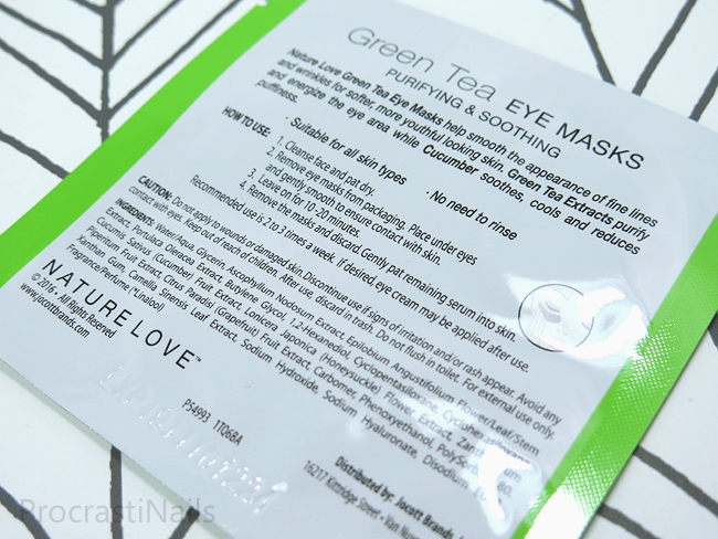 Nature Love Purifying & Soothing Green Tea Eye Masks