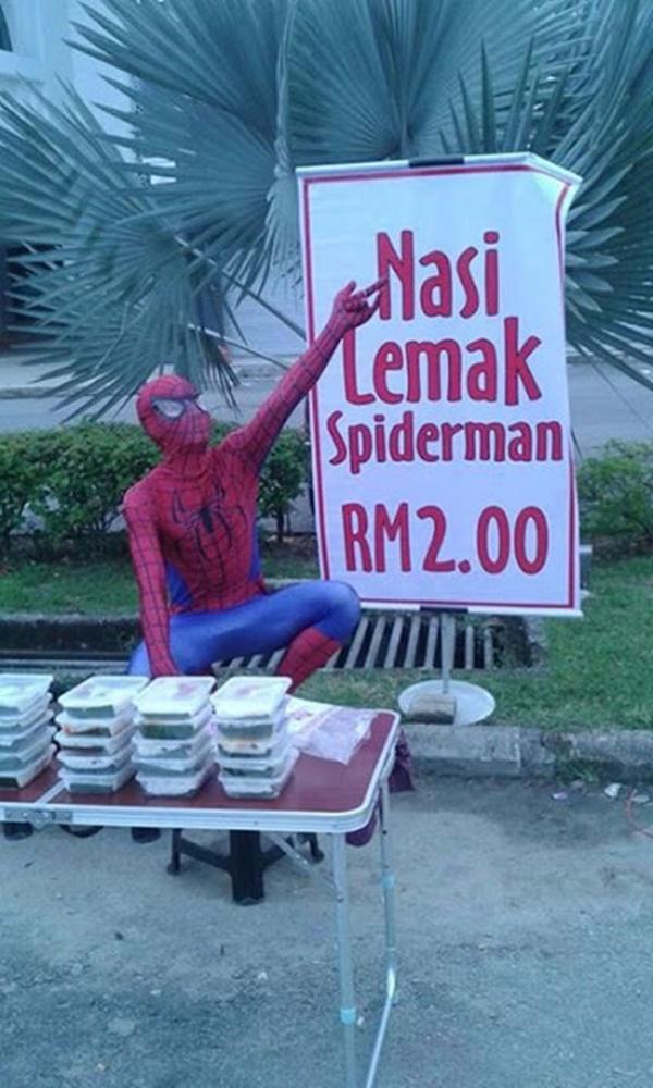(GAMBAR) Nasi Lemak Spiderman RM2.00 Jadi Viral... OHSEM!!