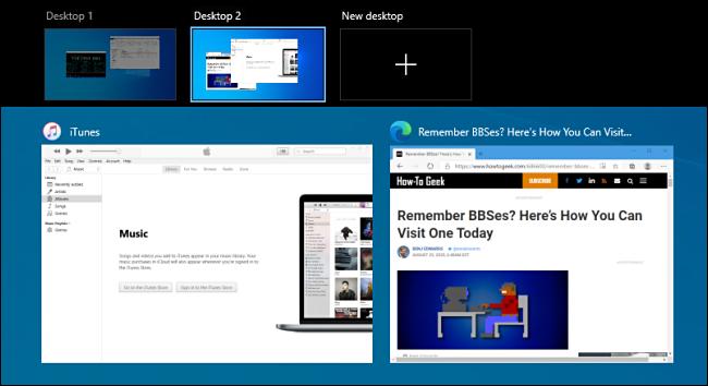 شاشة عرض المهام في نظام التشغيل Windows 10.
