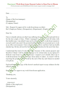 sample letter to boss asking for work from home