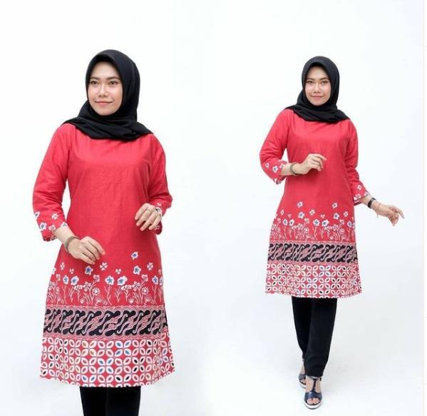Tunik Batik Wanita Warna Merah