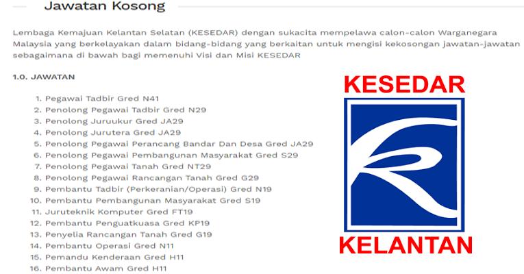 Kekosongan Terkini di Lembaga Kemajuan Kelantan Selatan (KESEDAR)