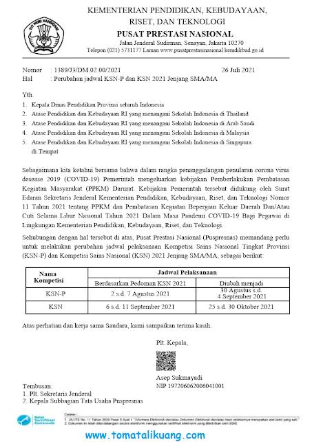 perubahan jadwal ksn-p provinsi ksn nasional sma tahun 2021 pusat prestasi nasional tomatalikuang.com
