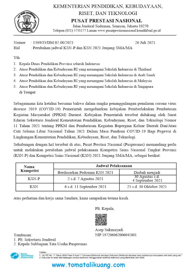Diundur, Ini Jadwal KSN-P & KSN Nasional SMA Tahun 2021 Terbaru