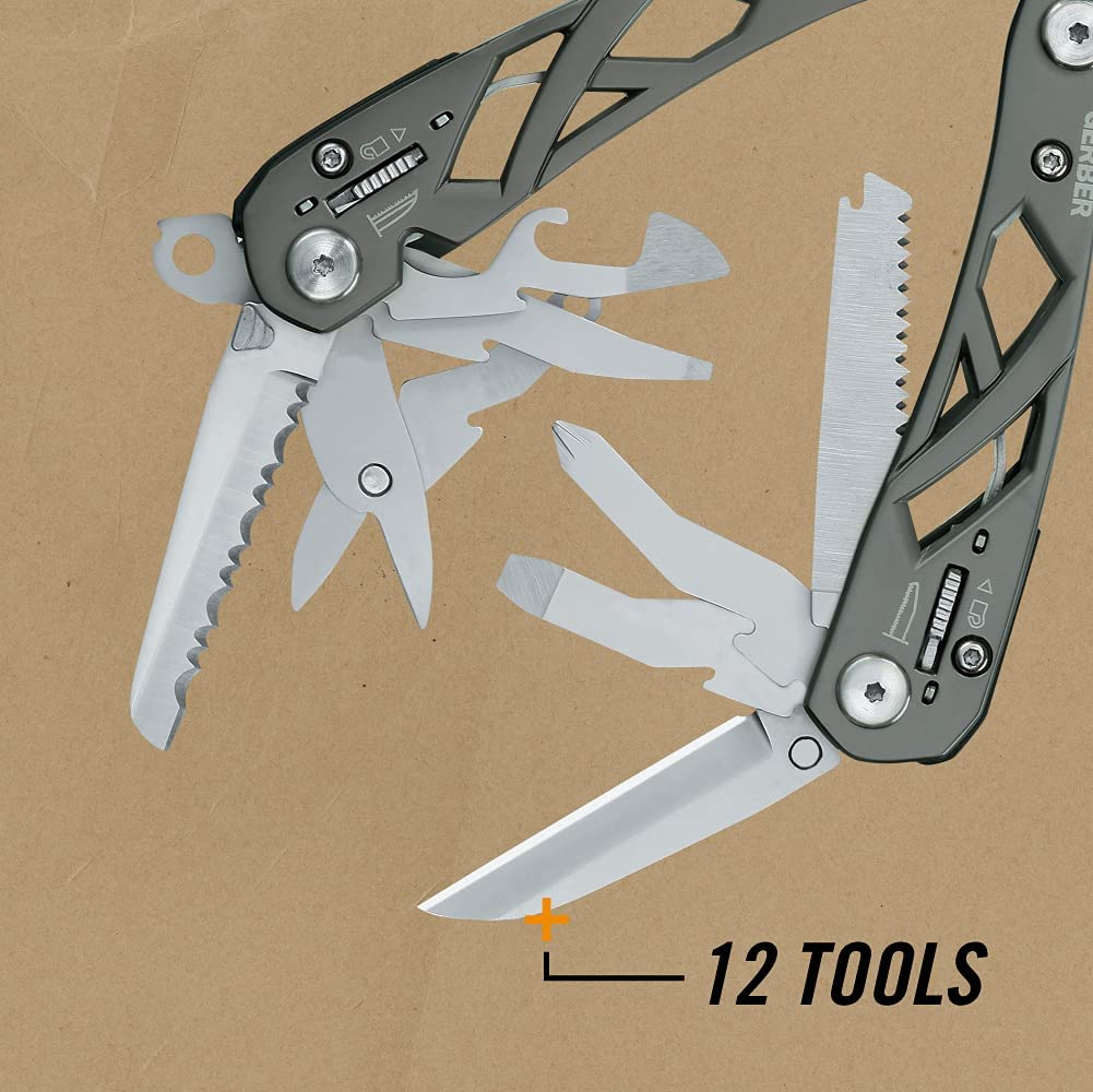 Gerber Gear 22-01471N Suspension Needle Nose Pliers Multitool Multi-Plier with Nylon Sheath, Gray  $34.99 BUY    ColorTitanium MaterialOther BrandGERBER Item Dimensions LxWxH4 x 1 x 6 inches Item Weight0.6 Pounds     Product description Product Description Tough, reliable, and easy to handle, the GERBER Suspension Multi-Plier is engineered to tackle jobs in just about every situation you can imagine. Featuring a sleek butterfly design, durable stainless steel construction, and GERBER's patented Saf.T.Plus component locking system, this affordable multitool packs 11 convenient tools that will quickly prove indispensable.  Strong, Innovative Open-Frame Design Strong yet lightweight, the Suspension Multi-Plier offers the durability of stainless steel construction along with an aluminum butterfly-opening handle that's inspired by the precision engineering of Portland, Oregon's famous suspension bridges. Like those time-tested iron bridges, this tool is designed to deliver the down-and-dirty performance that you demand from your tools. But performance isn't everything. The tool's unique suspension-style handle sits comfortably in your hand, giving it a well-balanced feel. Compact enough to satisfy the most demanding minimalists, and cool enough for any gadget guy or girl, the Suspension Multi-Plier offers a sleek, streamlined design that will look as good as it performs.  Reliable, Easy-to-Access Tools Keep You Prepared Whether you're at home, on the road, at a muddy jobsite, or deep in the backcountry, you can't predict what you'll be up against. The Suspension Multi-Plier is fitted with 11 tools that will give you the edge in virtually any situation.  Starting with the knives, you have the choice of a straight blade for fine-tune cutting, or a serrated blade that's great for cutting rope.  This tool also includes a Phillips screwdriver along with large and medium flathead screwdrivers, as well as a dedicated wire cutter/stripper. Unlike bulky squared-off pliers on many