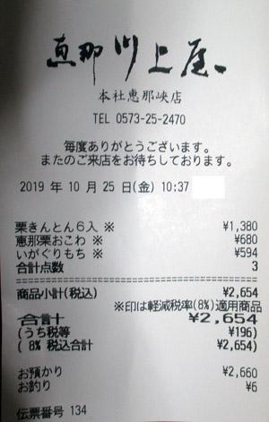 恵那川上屋 本社恵那峡店 2019/10/25 のレシート